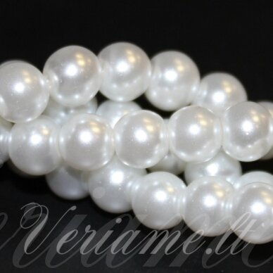 jsstperl0201-04 apie 4 mm, apvali forma, balta spalva, stiklinis perliukas, apie 210 vnt. 2