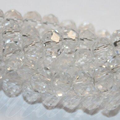 jssw0001gel-ron-03x4 apie 3 x 4 mm, rondelės forma, skaidrus, stikliniai / kristalo karoliukai, apie 150 vnt.