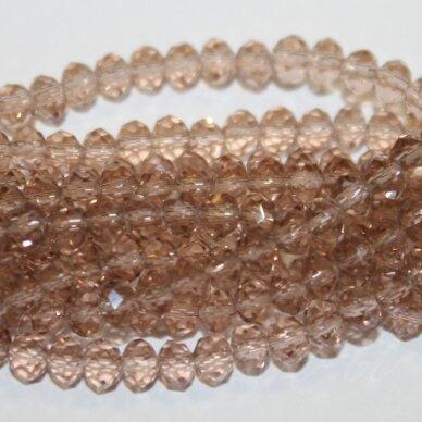 jssw0002gel-ron-02x3 apie 2 x 3 mm, rondelės forma, skaidrus, ruda spalva, stikliniai / kristalo karoliukai, apie 200 vnt.