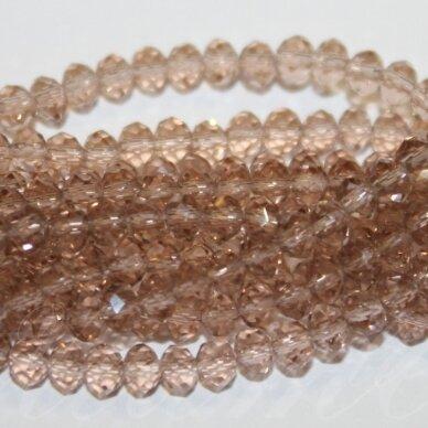 jssw0002gel-ron-06x8 apie 6 x 8 mm, rondelės forma, skaidrus, ruda spalva, stikliniai / kristalo karoliukai, apie 72 vnt.