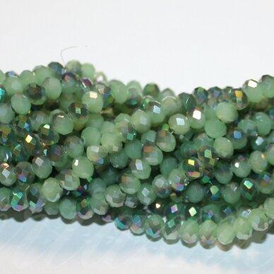jssw0063gel-ron-06x8 apie 6 x 8 mm, rondelės forma, žalia spalva, ab danga, stikliniai / kristalo karoliukai, apie 72 vnt.