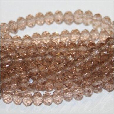 jssw0002gel-ron-09x12 apie 9 x 12 mm, rondelės forma, skaidrus, ruda spalva, stikliniai / kristalo karoliukai, apie 72 vnt.