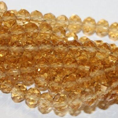 jssw0003gel-ron-03x4 apie 3 x 4 mm, rondelės forma, skaidrus, geltonas atspalvis, stikliniai / kristalo karoliukai, apie 150 vnt.