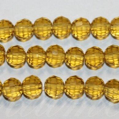 jssw0004gel-apv2-06 about 6 mm, round shape, faceted, transparent, amber color, about 100 pcs.