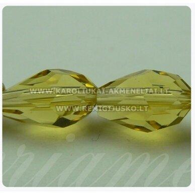 jssw0004gel-las-09x6 apie 9 x 6 mm, geltonas atspalvis, skaidrus, lašo forma, briaunuotas, apie 72 vnt.