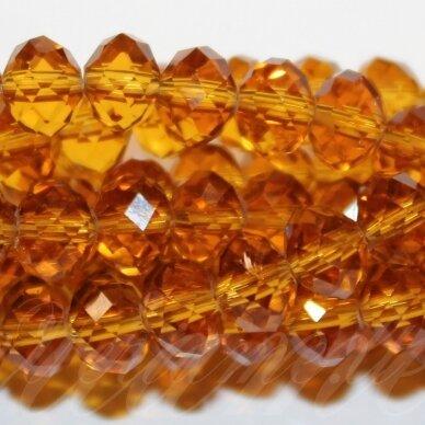 jssw0006gel-ron-04x6 apie 4 x 6 mm, rondelės forma, skaidrus, tamsi, geltona spalva, briaunuotas, stikliniai / kristalo karoliukai, apie 100 vnt.