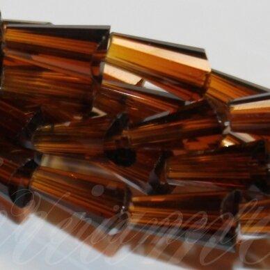 jssw0007gel-kug-08x4 apie 8 x 4 mm, kūgio forma, briaunuotas, skaidrus, tamsi, ruda spalva, stikliniai / kristalo karoliukai, apie 72 vnt.