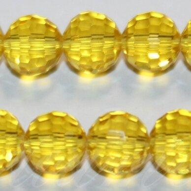 jssw0023k-apv2-08 apie 8 mm, apvali forma, briaunuotas, skaidrus, geltona spalva, stikliniai / kristalo karoliukai, apie 72 vnt.