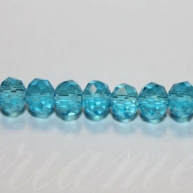 jssw0004k-ron-04x6 apie 4 x 6 mm, rondelės forma, žydra spalva, stikliniai / kristalo karoliukai, apie 100 vnt.