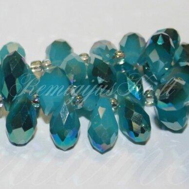 jssw0280-las-06x12 apie 6 x 12 mm, lašo forma, matinė, melsva spalva, blizgi danga, stikliniai / kristalo karoliukai, apie 100 vnt.