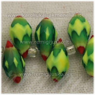 jssw1001-las-12x6 apie 12 x 6 mm, lašo forma, žalia spalva, marga, apie 100 vnt.