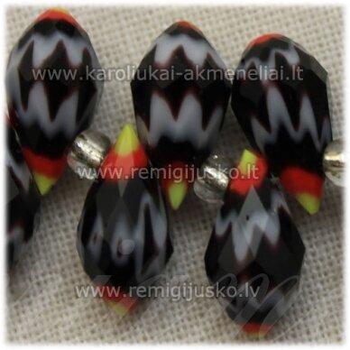 jssw1002-las-12x6 apie 12 x 6 mm, lašo forma, juoda spalva, marga, stikliniai / kristalo karoliukai, apie 100 vnt.