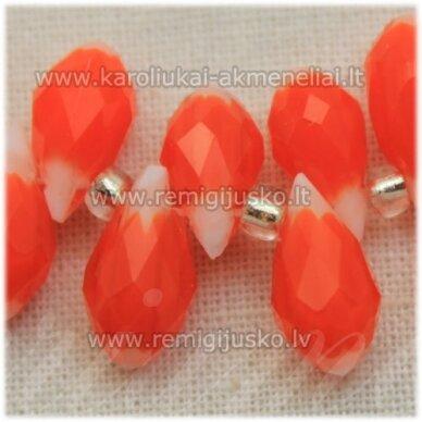 jssw1008-las-12x6 apie 12 x 6 mm, lašo forma, oranžinė spalva, marga, apie 100 vnt.