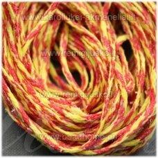 jv0939 apie 1 mm, geltona spalva, raudona spalva, vašku dengtas siūlas, 10 m.