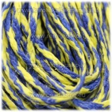 JV0940 apie 1 mm, geltona - mėlyna spalva, vašku dengtas siūlas, 10 m.
