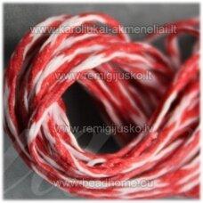 jv0942 apie 1 mm, marga, balta spalva, raudona spalva, vašku dengtas siūlas, 10 m.