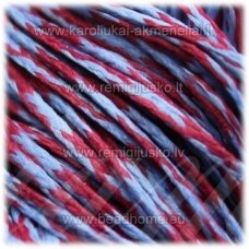 jv0944 apie 1 mm, raudona spalva, melsva spalva, vašku dengtas siūlas, 10 m.