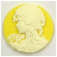 k02 about 46.5 mm, cameo, yellow color, white color, 1 pc.