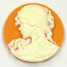 k04 about 38 mm, cameo, orange color, white color, 1 pc.