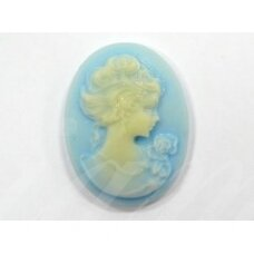 k40 about 30 x 22.5 mm, cameo, light blue color, 1 pc.