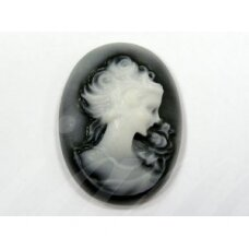 k58 about 37 x 28 mm, black color, white color, cameo, 1 pc.