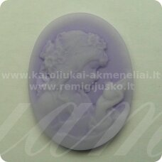 k66 about 38 x 29 mm, light, lilac color, cameo, 1 pc.