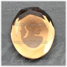 k93 about 25 x 20 x 5 mm, oval shape, brown color, cameo, 1 pc.