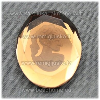 k93 apie 25 x 20 x 5 mm, ovalo forma, ruda spalva, kamėja, 1 vnt.