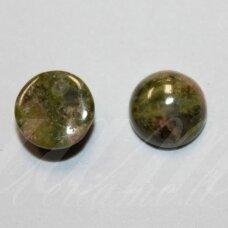 kab-akun-disk-12 apie 12 mm, disko forma, unakitas, kabošonas, 1 vnt.