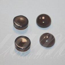 kab-kaa0003-disk-10 apie 10 mm, disko forma, marga, pilka spalva, agatas, kabošonas, 1 vnt.