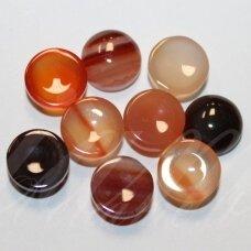 kab-kaa0009-disk-10 apie 10 mm, disko forma, marga spalva, agatas, kabošonas, 1 vnt.