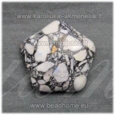 KAB-KAH01-GEL-22x6 apie 22 x 6 mm, disko forma, juoda-balta spalva, hovlitas, kabošonas, 1 vnt.
