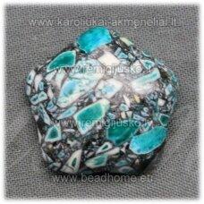 kab-kah03-gel-22x6 apie 22 x 6 mm, gėlytės forma, elektrinė spalva, hovlitas, kabošonas, 1 vnt.