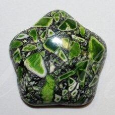 KAB-KAH04-GEL-22x6 apie 22 x 6 mm, disko forma, žalia spalva, margas, hovlitas, kabošonas, 1 vnt.