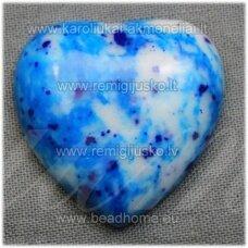 kab-kah08-sird-10x5 apie 10 x 5 mm, širdutės forma, marga, mėlyna spalva, hovlitas, kabošonas, 1 vnt.