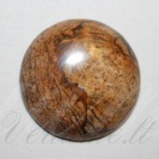 kab-kaja-pav-disk-12 apie 12 mm, disko forma, paveikslinis jaspis, kabošonas, 1 vnt.