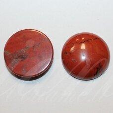 kab-kaja-raud-disk-16 apie 16 mm, disko forma, raudonasis jaspis, kabošonas, 1 vnt.