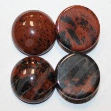 kab-kaja0101-disk-12 apie 12 mm, disko forma, marga, jaspis, kabošonas, 1 vnt.
