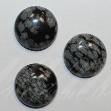kab-kaob-disk-16 apie 16 mm, disko forma, snaiginis obsidianas, kabošonas, 1 vnt.