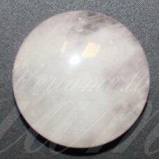 kab-karz-disk-16 apie 16 mm, disko forma, rožinis kvarcas, kabošonas, 1 vnt.