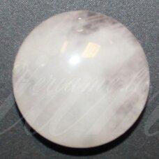kab-karz-disk-18 apie 18 mm, disko forma, rožinis kvarcas, kabošonas, 1 vnt.