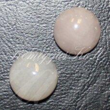 kab-karz-disk-25 apie 25 mm, disko forma, rožinis kvarcas, kabošonas, 1 vnt.