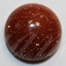 kab-kasa-disk-12 apie 12 mm, disko forma, saulės akmuo, kabošonas, 1 vnt.