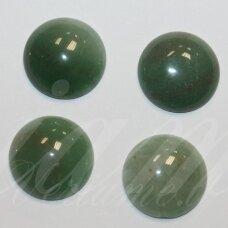 kab-kaza-disk-12 apie 12 mm, disko forma, marga, žalia spalva, žadeitas, kabošonas, 1 vnt.