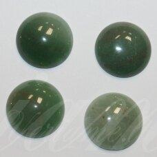 kab-kaza-disk-16 apie 16 mm, disko forma, marga, žalia spalva, žadeitas, kabošonas, 1 vnt.