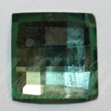 KAB-SK0004-KVAD-12 apie 12 mm, kvadrato forma, briaunuotas, skaidrus, žalia spalva, stiklinis kabošonas, 1 vnt.