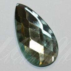 KAB-SK0009-LAS-30x16 apie 30 x 16 mm, lašo forma, briaunuotas, skaidrus, žalsva spalva, stiklinis kabošonas, 1 vnt.