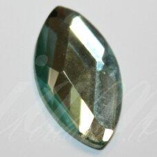 KAB-SK0009-PAI-20x10 apie 20 x 10 mm, pailga forma, briaunuotas, skaidrus, žalsva spalva, stiklinis kabošonas, 1 vnt.