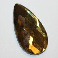 kab-sk0025-las-30x16 apie 30 x 16 mm, lašo forma, briaunuotas, skaidrus, chaki spalva, stiklinis kabošonas, 1 vnt.