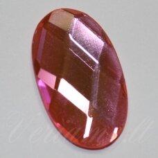 KAB-SK0028-OVAL-34x20 apie 34 x 20 mm, ovalo forma, briaunuotas, skaidrus, šviesi, rožinė spalva, stiklinis kabošonas, 1 vnt.